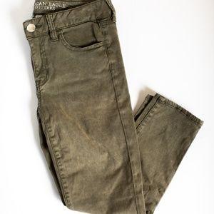 American Eagle Olive Green Super Stretch Jeans